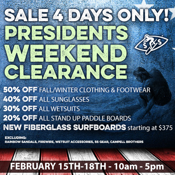 Presidents' Weekend 4-DAY Clearance SALE..!